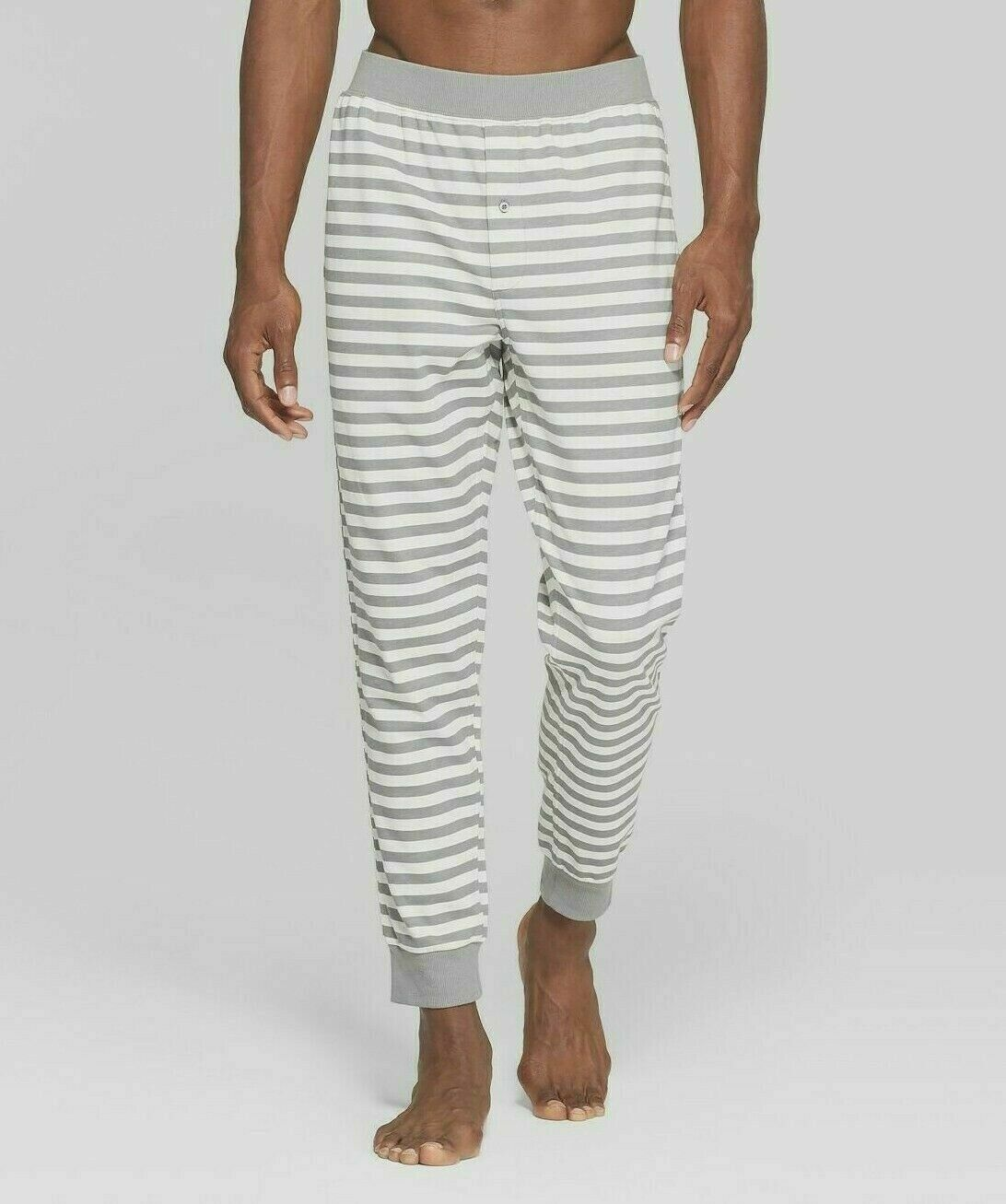 Men's French Terry Jogger Pajama Lounge Pants, M, White Gray stripe– 100% Cotton Clothing, Shoes & Accessories