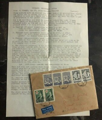 1962 Lappeenranta Finland Airmail Cover To Grand View IA USA Letter Enclosed