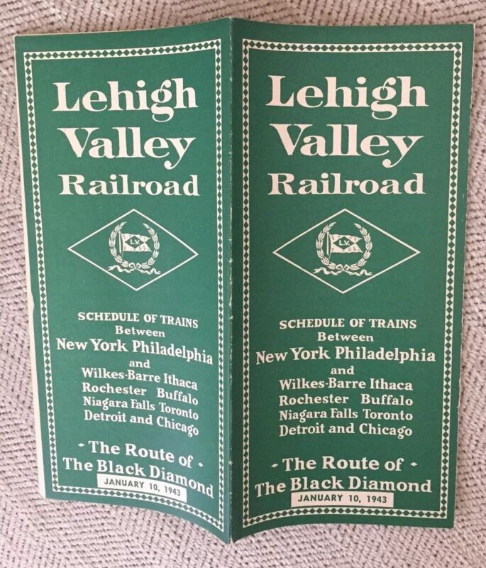 Lehigh Valley Railroad 1/10/43 War-Time Public Timetable