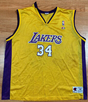 VTG 90s Champion Los Angeles Lakers Shaquille O'Neal NBA Jersey SZ 48 Distressed