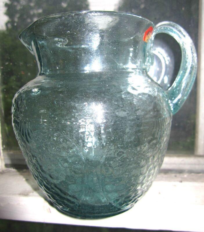 fine antique aqua blown glass pomegranate jug pitcher