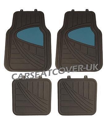 Dacia Lagan   BlackBlue HEAVY DUTY All WEATHER Front Rear RUBBER CAR Floor MATS