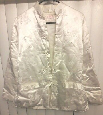 Fortune Fabulous Fashions Co White Floral Asian Insulated Coat Jacket M Ladies ](Lady Luck Costume)