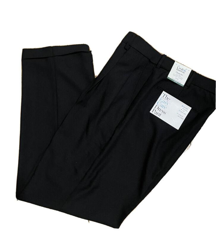 Croft & Barrow Easy Care Dress Pants Pleated Flex Waist Cuff Classic Fit Black