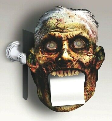 BLOODY BATHROOM TOILET PAPER COVER Monster Mouth Holder Joke Prank Zombie Face  - Zombie Toilet Paper Holder