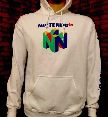 Official Nintendo 64 Men's Hoodie Sweatshirt - Classic Vintage Logo Rare White! Blue Classic Logo Hoody Sweatshirt