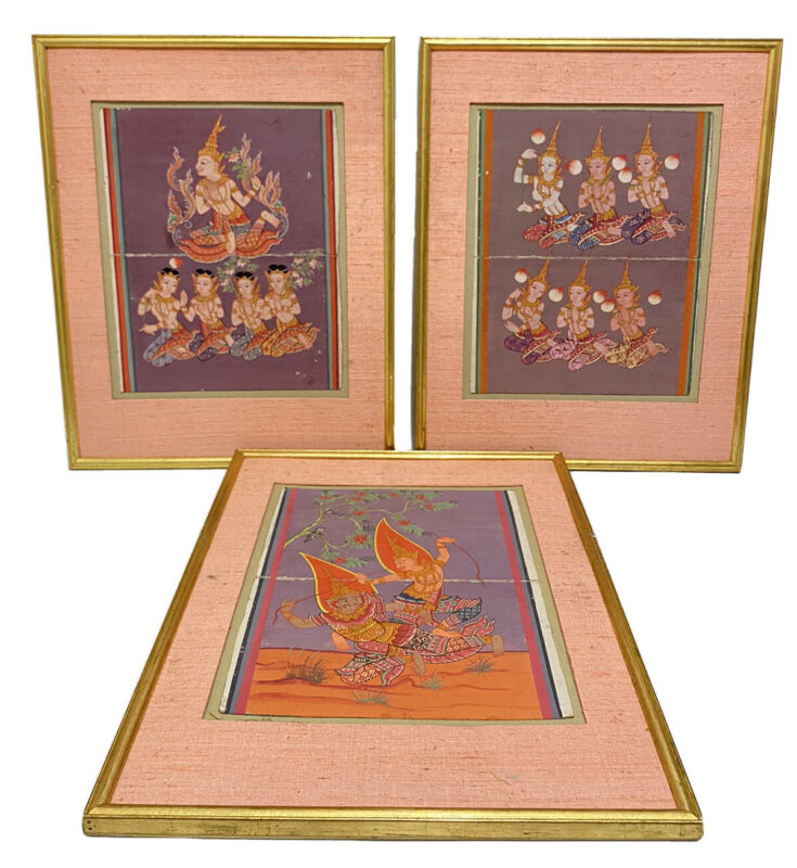 Vintage Framed Hand Painted Traditional Thai Ancient Buddha Paintings Gold Leaf