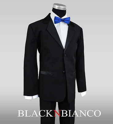 Formal Ring Bearer Boys Tuxedos In Black With Royal Blue ...