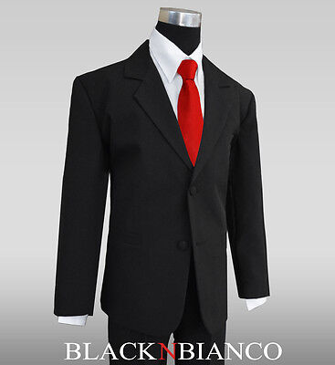Boy Toddler Teen Suit in Black with a Red Long Tie for weddings, graduations ](Black Suits For Toddlers)