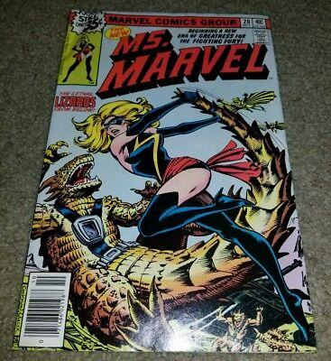 Comic book Ms. Marvel 20 VF Bronze 10/1977 1st App New Costume Key Lizard Movie - Ms Marvel Costume
