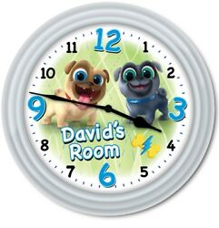 Puppy Dog Pals PERSONALIZED Wall Clock - Bingo Rolly Disney Jr Kids Bedroom GIFT