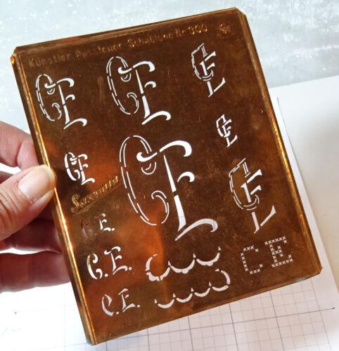 "CE C E monogram stencil embroidery antique 5"" LARGE copper metal initials letter"
