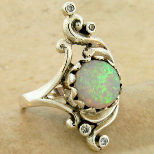 ART NOUVEAU 925 STERLING SILVER LAB AUSTRALIAN OPAL ANTIQUE STYLE RING,    #1050