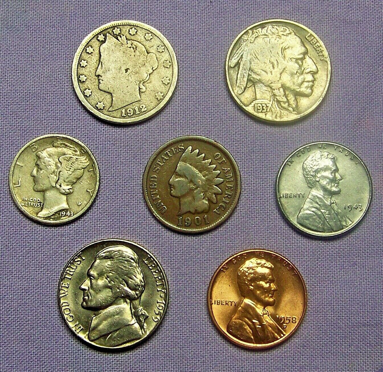 Best  MERCURY SILVER DIME STARTER COLLECTION LOT OF 7 OLD US COINS