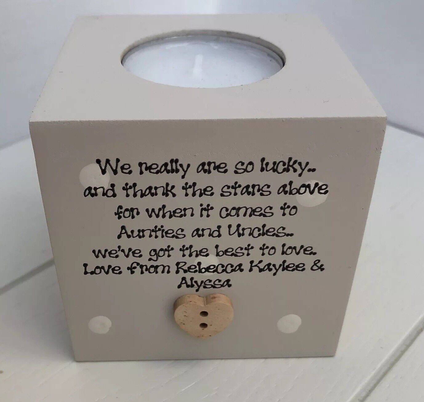 Shabby Personalised Chic Auntie Aunty Great Aunt & Uncle Any Name Candle Gift.. - 233003797645