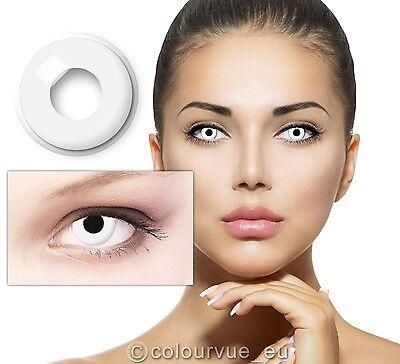 Crazy & Fun Farbige Kontaktlinsen - White Out + 60 ml mit Behälter