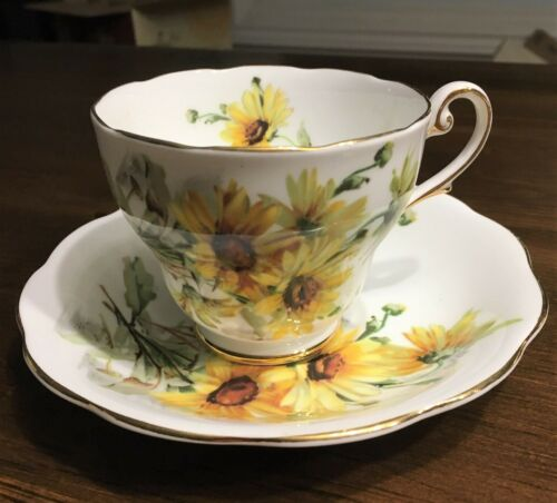 Royal Standard Tea cup and Saucer Yellow Brown Eyed Susan Vintage Bone China
