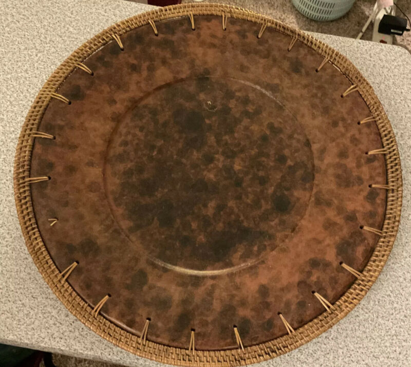 2 Vintage African Chargers/Platters. Heavy Wood & Wicker. Over 4lbs Each. Unique