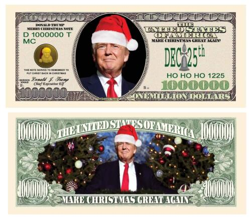 Donald Trump Presidential Dollar Bills Christmas Santa Novelty 25 Pack