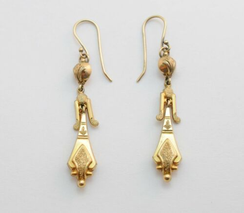Victorian Etruscan Revival Long 10k Yellow Gold Pierced Dangle Earrings 3.2g
