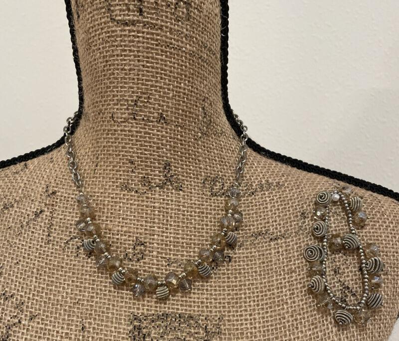 Set Of 2: Vintage Unbranded Champagne/ Gold Bead Necklace/ Bracelet, Pre-owned