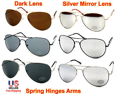 Men Women Aviator Gold Silver Black Frame Sunglasses Dark or Silver Mirror Lens (Black Frame Gold Mirror Lens)