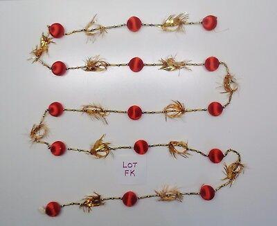 VINTAGE CHRISTMAS MERCURY GLASS BEAD & TINSEL 8 FT GARLAND LOT FK
