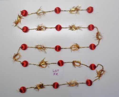 VINTAGE CHRISTMAS MERCURY GLASS BEAD & TINSEL 8 FT GARLAND LOT FK