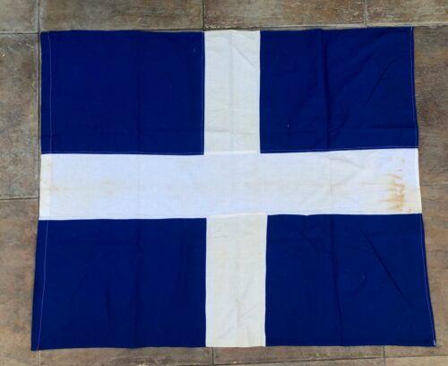 VINTAGE GREECE VERY OLD GREEK CROSS FLAG 92 cms x 110 cms (1960s)