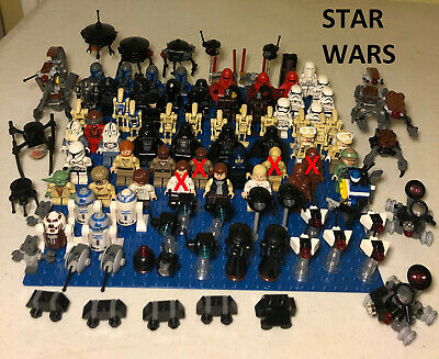 Lego Star Wars Minifigs, Minifigures, Vader, Han Solo, Luke Skywalker, Droids