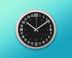 """24 Hours wall clock 9"""" (22.8cm.) Round Silver, Black Face. Military Time."""