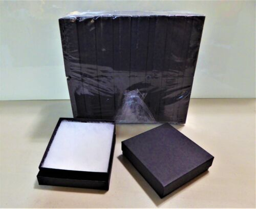 """Jewelry Gift Boxes 36 Count , Black Matte , Cotton Filled 3.5 x 3.5 x 1 """""""