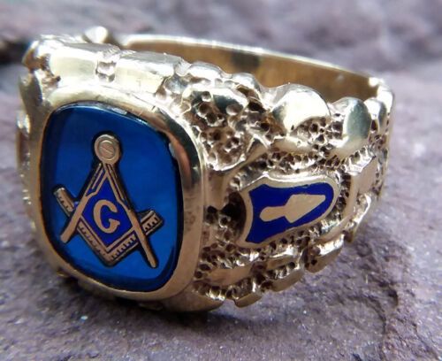 10K Yellow Gold Masonic Ring Created Blue Sapphire & Enamel Size 11 Mens