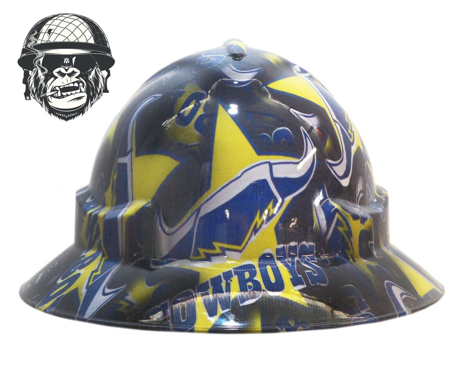Custom Hydrographic Wide Brim Safety Hard Hat - COWBOYS WIDE