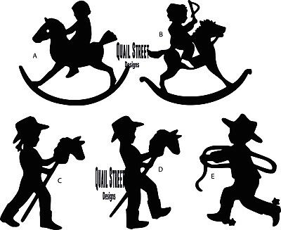 Little Cowboys and Cowgirls Stick Horses Choose Image Vinyl Decal Free Ship 935