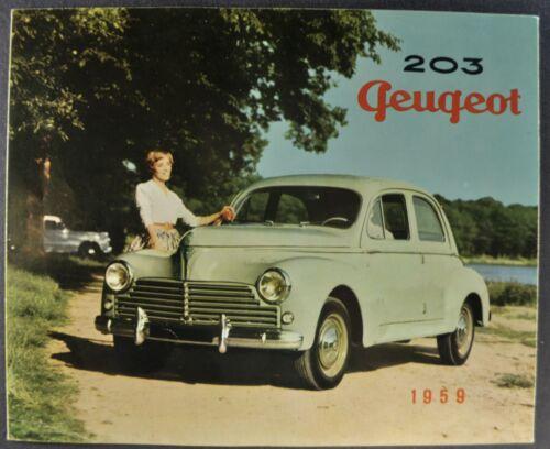 1959 Peugeot 203 Sedan Sales Brochure Folder French Text Excellent Original 59