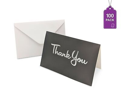 Thank You Cards 100 Cards With Envelopes Gray With Silver Hot Stamped Thank You - 100 Thank You Cards