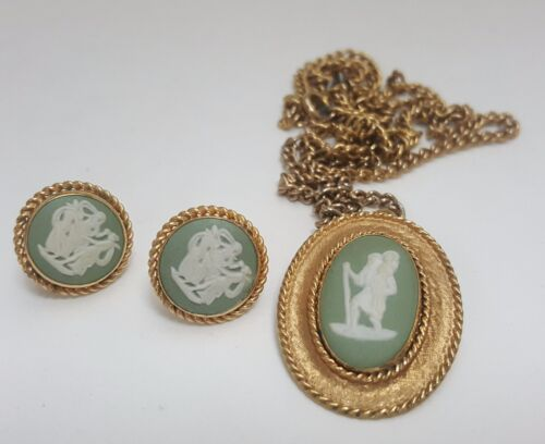 Van Dell Gold Filled Wedgwood Necklace Earrings Pendant Charm Cameo Pin Brooch