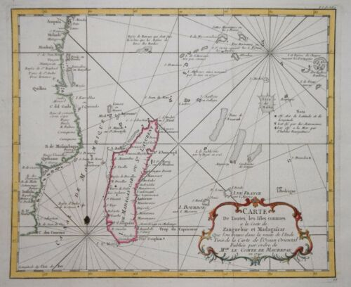 EAST AFRICA, MADAGASCAR & ISLANDS OF THE INDIAN OCEAN BY BELLIN, PARIS 1740.