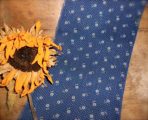Antique Primitive Indigo Blue Calico Cotton Fabric ~ daisy dot ~ dolls quilts