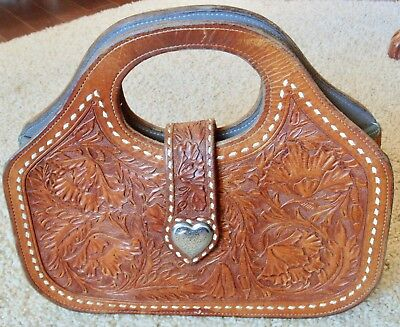 VINTAGE TOOLED LEATHER LINED HANDBAG PURSE WITH STERLING HEARTS NO MONOGRAM
