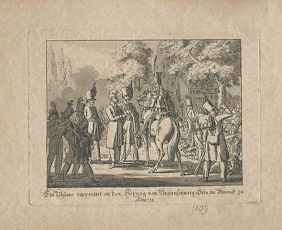 Christian Geissler. Ein Uhlane rapportiert Herzog Braunschweig-Oels. 1809