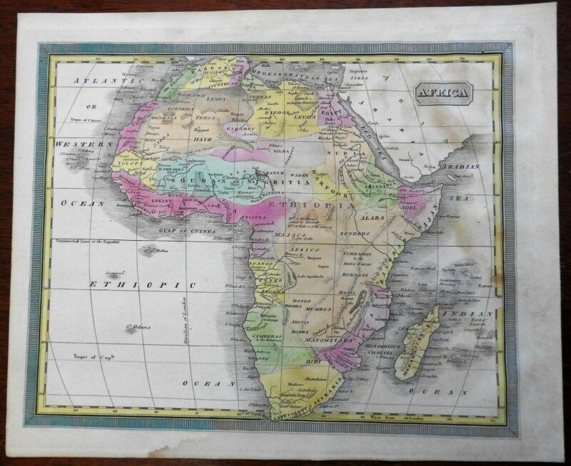 Africa Morocco Egypt Guinea Abyssinia Zanzibar Nubia 1832 Williams engraved map
