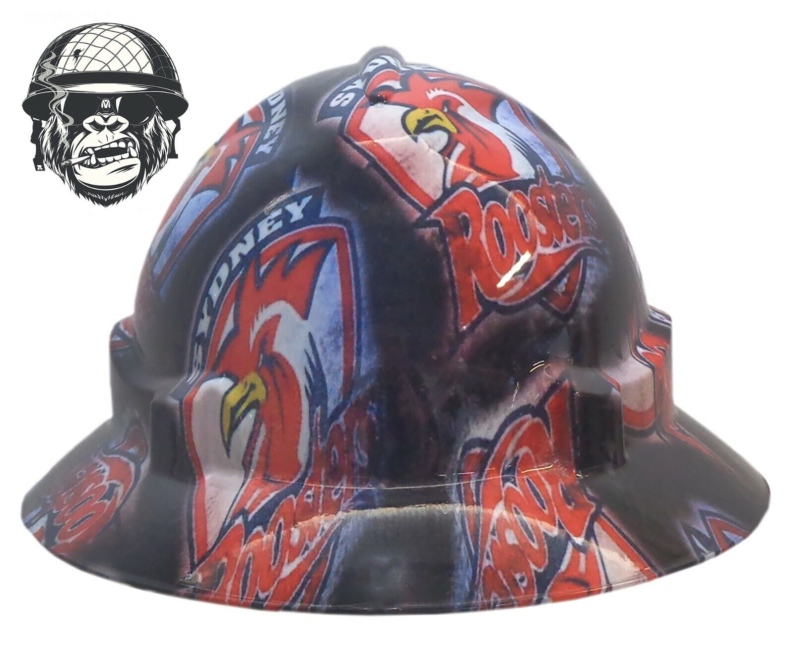 Custom Hydrographic Wide Brim Safety Hard Beer - SYDNEY ROOSTERS WIDE