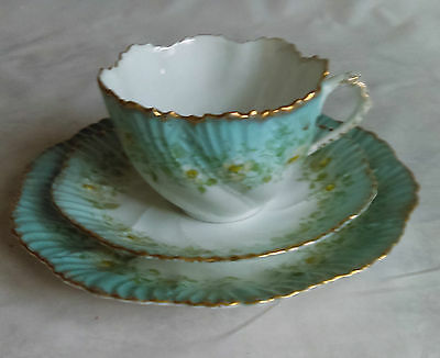 Teacup Trio White & Blue Green Flowers Gold Scalloped Edge bone china vintage