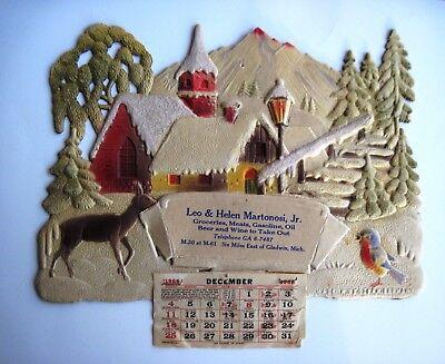 Charming 1966 Christmas German Pulp Advertising Calendar w/Cute Blue Bird* ()