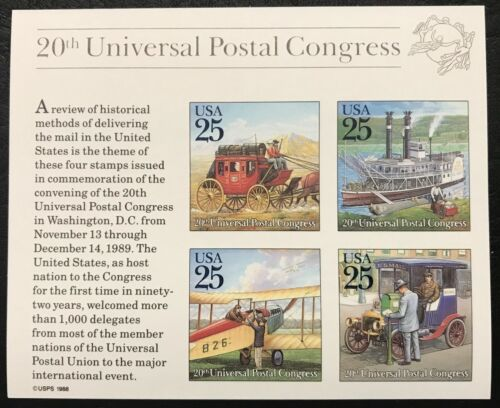 1989 - Scott #2438 - 25¢ - TRADITIONAL MAIL DELIVERY - Souvenir Sheet of 4, MNH