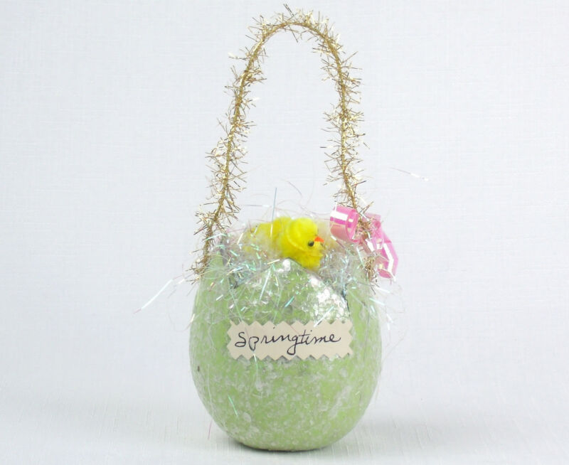 Vintage Inspired Glittery Mica Egg With CHENILLE CHICKS Easter Springtime