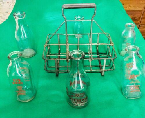 Antique Vintage Milk Bottles with Metal Rack