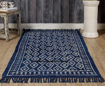 Blue Indigo Cotton Block Print Accent Area Dhurrie Rug Woven Weave Indian Carpet - Blue Area Teppich